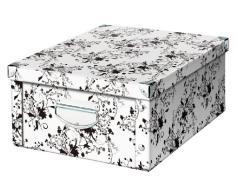 Zeller 17848 - Caja de cartón para almacenaje, diseño floral, 40 x 33 x 17 cm, color blanco y negro