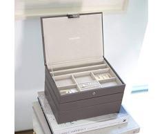 Stackers classic size |organizador de la joyería conjunto de 3 cajas, visón y forro de terciopelo gris