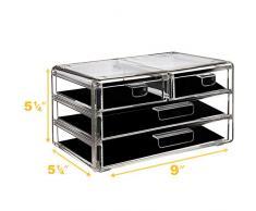 AcryliCase Acrílico Maquillaje & Organizador de Joyas 4 Draw cosméticos Caja de Almacenamiento de Pantalla