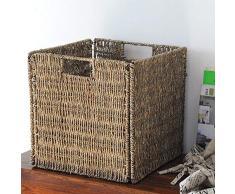 Canasta de almacenamiento Handmade Rattan Plaza de marco de metal caja de almacenaje plegable canasta de almacenamiento Estante cesta de ropa