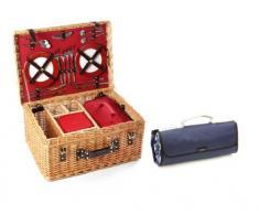 Greenfield Collection Blenheim Cesta y Manta de Picnic en Mimbre, para 4 Personas, Color marrón, 52.00x38.00x25.00 cm