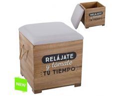 "Dcasa - Puff baúl madera ""RELÁJATE"""