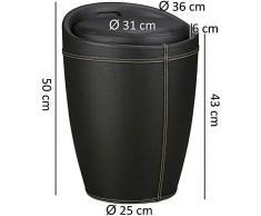 KadimaDesign KADIMA Luc - Cesto para la Ropa Sucia (con función Taburete, Funda de Piel sintética, 100 kg, Altura: 50 cm, diámetro: 35 cm), Color Negro