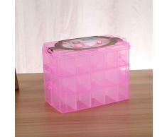 Tres capas de 36 ranuras, accesorios de plástico para manualidades, barbas, caja de almacenamiento de joyas, contenedor, organizador para el hogar Caja de almacenamiento familiar ( Color : Rosa )