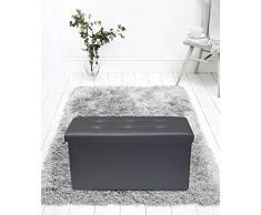 Rebecca Mobili Puf para almacenar, puf reposapiés de Piel sintética, Asiento Gris con Tapa- Medidas: 38 x 76 x 38 cm (AxANxF) - Art. RE4624