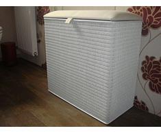 Cesto para la ropa sucia en forma de taburete con 3 compartimentos de clasificador de Loom Colour blanco con tres compartimentos Made in Germany