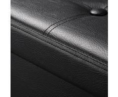 Mari Home Banco de Almacenaje Puff - Taburete de Cuero Sintético y Caja para Zapatos, Ropa de Cama, Juguetes - Dormitorio, Salón - Mesa Sofá Reposapiés - Cap. 300 kg - 110x38x38 cm - Negro