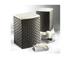 Rattan im Trend - Cesto para ropa (nailon, sirve como taburete, tamaño pequeño), color negro y blanco