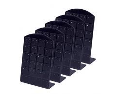 pandahall 5 Piezas 48 Agujeros Pendientes Oreja Espárragos Exhibición de Joyas Exhibidor de plástico Soporte para Rack Organizador Soporte Caja de escaparate