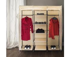 Relaxdays 10019122_127 - Armario/ropero plegable hecho de tubos de acero y recubrimiento de tela, 2 tubos para colgar ropa y 9 estantes, 173 x 148 x 42.5 cm, color beige