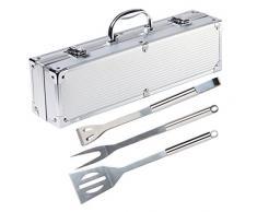 Holzsammlung Cubertería de 3 piezas para barbacoa de acero inoxidable para barbacoa Cubiertos en maletín de aluminio
