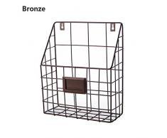 ShouYu Revistero Estante montado en la pared del hierro labrado estante simple del compartimiento de periódico de la sala de estar del estante Cesta del almacenaje (marrón, 25 * 10 * 30CM)