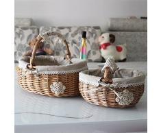 TIANLIANG04 Canasta de mimbre Rattan cesta CESTA cesta de almacenamiento almacenamiento almacenamiento de snackbox cesta cesta de picnic cesta de fruta,Hessian trompeta