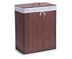 Zeller 13414 - Cesto para la colada con 2 compartimentos, bambú, 52 x 32 x 60 cm, color marrón