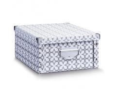 Zeller 17898 Caja de almacenaje de cartón Multicolor (Retro White) 40 x 33 x 17 cm