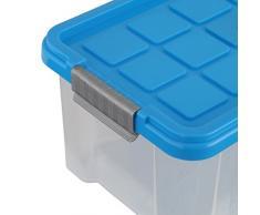 Axentia - Caja de plástico con tapa, color surtidos, 30 x 14 x 15 cm