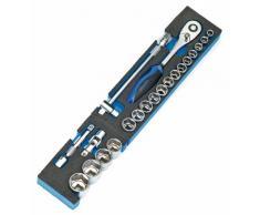 Heyco/Heytec 50807694500 - Caja de herramientas (chapa de acero, 5 compartimentos, plegable, 96 piezas, 5 módulos)
