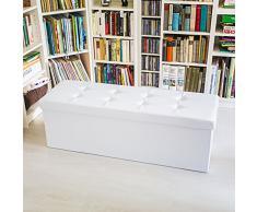 Relaxdays - Banco plegable con espacio de almacenamiento hecho de cuero sintético con medidas 38 x 114 x 38 cm capacidad de 140 L asiento baúl, color blanco
