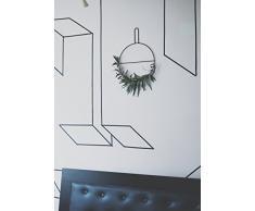 anaan Circle Diseño Guirnalda Corona de Pared Flores Corona Eucalipto Hojas Colgador Joyas Anillo de Toalla Revistero de Pared Rejilla Metal Escandinava Decoración Puerta (S Φ30*40cm)