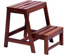 dobar 29731 FSC - Taburete plegable estable de madera, 53/39 x 38 x 45 cm, color marrón oscuro, 1 pieza
