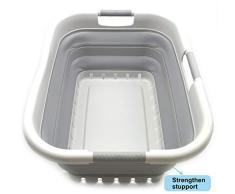 SAMMART Cesto de Ropa Plegable de plástico con 3 manijas - Contenedor/Organizador de Almacenamiento emergente Plegable - Tina de Lavado portátil - Cesto/Cesta de Ahorro de Espacio (Gris/Gris)