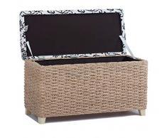 Taburete, con espacio de almacenamiento, arcón, escabel, con patas, Color natural, 70 x 30 x 40 cm