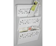 elbmöbel Rosali - Revistero para pared de madera, color blanco envejecido