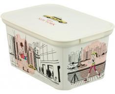 Curver Deco Ámsterdam 213.938 señorita Nueva York - almacenamiento caja de polipropileno, 30 x 21 x 15 cm, color: Marfil