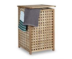 Relaxdays Almacenamiento de Bin Cesto para colada (con tapa de madera de nogal para la colada, 67,5 x 45,7 cm, organizador de colada, con caja de madera de lino de lavandería bolsa, tono de la capacidad de 75 L, natural, madera