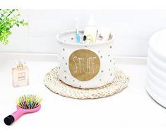 milopon Caja multifunción Lino Toalla Storage Box cesta creativa forma redonda Cocina Cuarto de baño – Caja de almacenaje, Weiß, 19x19x15CM