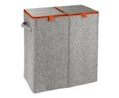 Wenko 3440402100 - Separador doble de ropa sucia con fieltro, 52 x 54 x 28 cm, color gris y naranja