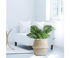 Seagrass cesto de almacenamiento, cesta ropa plegable,cesta mimbre multifuncional, Canasta tejida de algas naturales decoración para el hogar (L)
