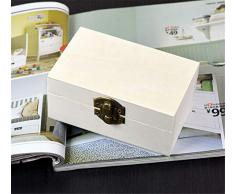 Szaerfa Pequeña Caja de Joyería de Madera Cofre del Tesoro Caja de Regalo Caja de Regalo Caja de Almacenamiento de Arte de Los Niños Artesanía Caja del Tesoro Sin Pintar