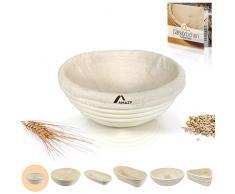 Amazy Banneton para pan - La ideal cesta para masa y fermentación de pan de mimbre natural (redonda | ∅ 16 cm)