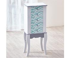 Teamson Kids - Tocador y Taburete de Madera para niñas con Juego de vanidad Espejo y cajón, Azul/Blanco (Aqua Blue/White)