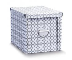 Zeller 17899 - Caja de almacenaje de cartón, 36 x 27,5 x 26,5 cm, diseño blanco retro