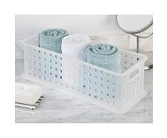 iDesign Caja organizadora con asas, organizador de baño de plástico para accesorios de ducha, cesta organizadora apilable para juguetes o material de artesanía, blanco