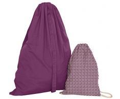 Set de lavandería, bolsa para la ropa en algodón + mochila (Violeta) 100 % algodón