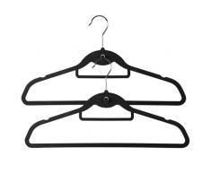 Perchas antideslizantes en terciopelo, con barra para pantalones y gancho central para colgar percha en cascada. 45 cm (20 unidades)