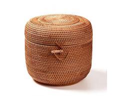 DSJSP Rattan Caja de Almacenamiento de la Cesta del almacenaje, Hecha a Mano del té Cubo, con la Tapa de diseño, a Prueba de Polvo ya Prueba de Humedad, Disponible en Tres tamaños (Size : 22×23cm)