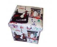 Taburete París Triumphal arco Original GMMH Box Caja de asiento con forma de cubo plegable banco baúl reposapiés para guitarristas