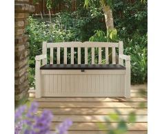 Baúl Banco resina efecto madera blanco crema Jardín Keter Garden Bench