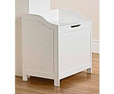 Living - Cesto para ropa sucia en forma de banco, color blanco