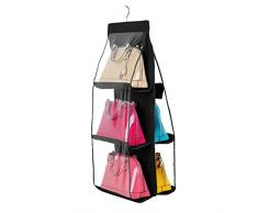 PIXNOR Plegable armario organizador del armario colgante sistema de bolsa de almacenamiento para el bolso (negro)