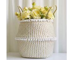 Seagrass cesto de almacenamiento, cesta ropa plegable,cesta mimbre multifuncional, Canasta tejida de algas naturales decoración para el hogar (S)