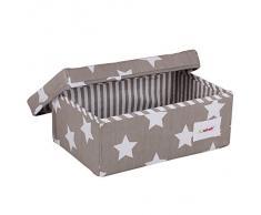 Minene 1233 - Caja de tela pequeña, diseño estrellas, color gris