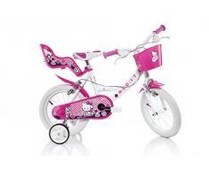 Bicicleta Chica 14 Pulgadas Dino Hello Kitty Ruedas Extraíbles Cesta y Porta Muñecas Rosa Blanco