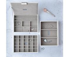 Stackers classic size |conjunto organizador de la joyería de 4 cajas, blanco con forro de terciopelo gris