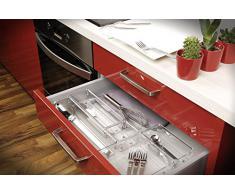 iDesign Cubertero para dividir cajones, separador de cajones pequeño de plástico, ideal como organizador de cajones de cocina, transparente