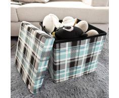 SoBuy® Taburete, cubo taburete, caja de almacenaje, caja puff, puff, arcón, cesto para ropa, FSS23